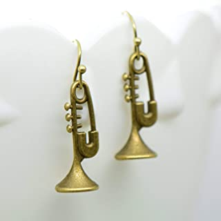 Trumpet Earrings, Antique Bronze Finish Vintage Style Charm Pendant Trump Music OE-296