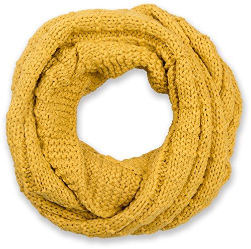 styleBREAKER Unisex Strick Loop Schal kariert, Uni Feinstrick Schlauchschal, Winter Strickschal 01018154, Farbe:Curry