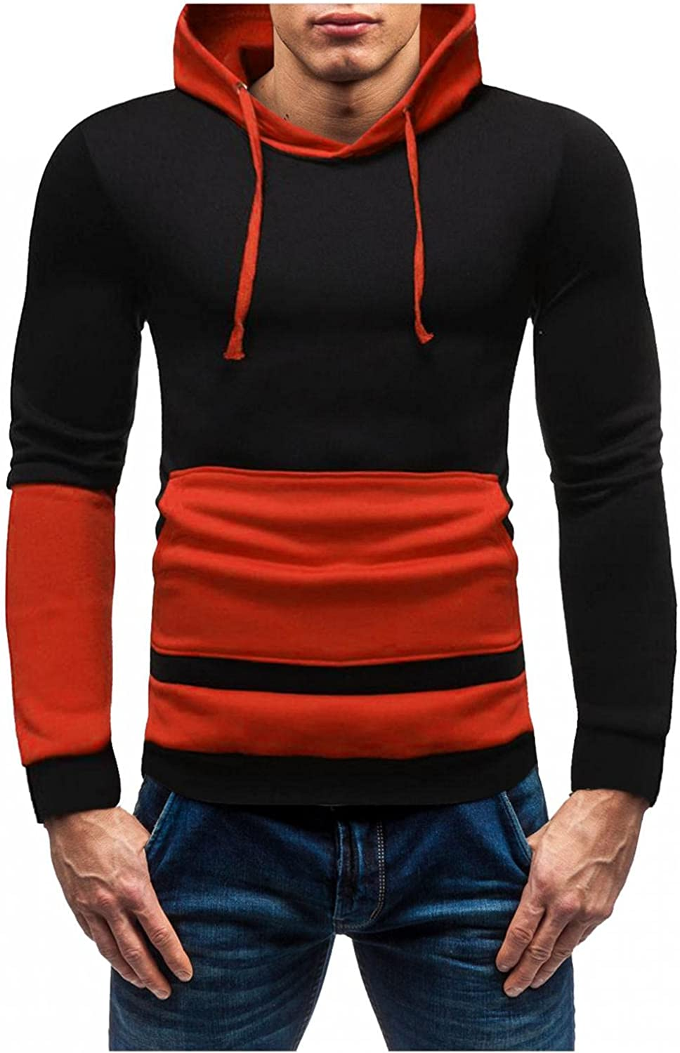 LEIYAN Mens Muscle Hoodie Pullover Casual Long Sleeve Slim Fit Colorblocking Gym Workout Sweatshirt Pullover