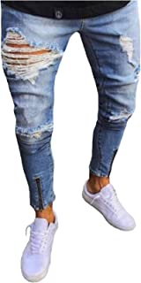 Legou Men's Destroyed Ripped Jeans with Zipper
