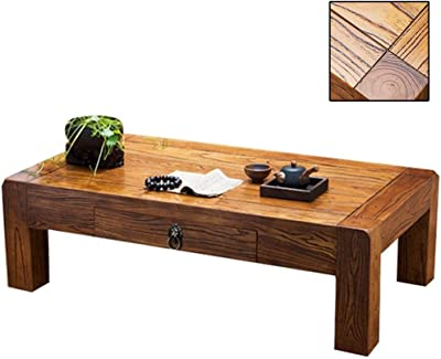 Old Elm Chinese Kang Table Small Tea Table Tatami Coffee Table Home Solid Wood Small Coffee Table Bay Window Table Balcony Low Table Kang Table (Color : Brown, Size : 50 * 40 * 30cm)
