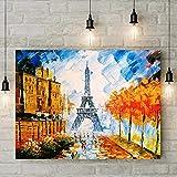 YINSHENG Póster de película sin Bordes Premium/Torre Eiffel Pintura al óleo Pintura de Paisaje francés Arquitectura Famosa Pintura de Cuchillo Arte Pop Impresión de Lienzo en Lienzo Decorar la