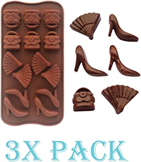 3 Pack X Shoes, purse and fan ice Cube Chocolate Soap Tray Mold Silicone Party maker (Ships From USA)