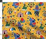 Spoonflower Stoff – Tag Zirkus-Tiere Bär Affe Festival