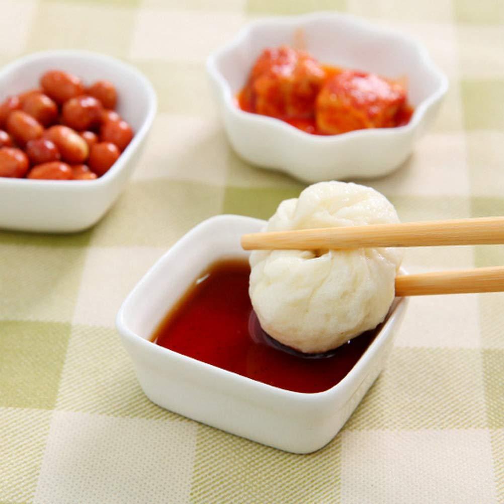 BESTONZON Platos de cerámica 2 piezas de porcelana Plato de inmersión Salsas de condimento de cocina Vinagre para Souffle, Creme Brulee y Salsas de inmersión (cuadradas/blancas): Amazon.es: Hogar