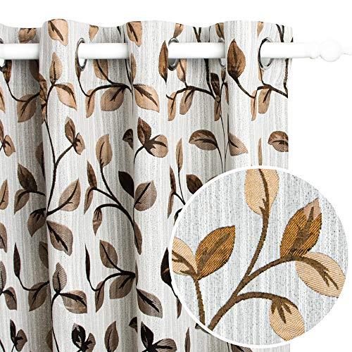 Viste tu hogar Pack 2 Cortina Decorativa Opaca con Ojales, Estilo Simple y Elegante, para Salón, Habitación y Dormitorio, 2 Piezas, 150X260 CM, Marrón