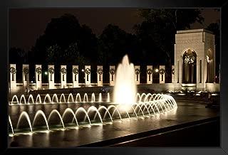 World War II Memorial at Night Washington DC Photo Black Wood Framed Art Poster 20x14