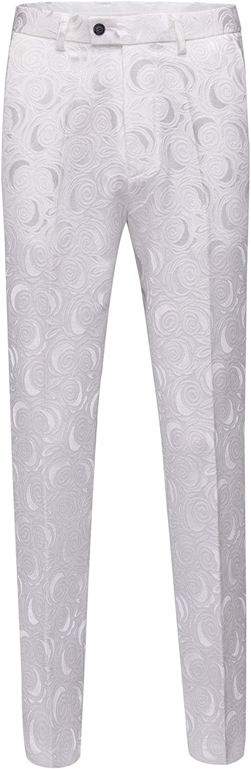 Botong Men's Modern Fit White Floral Dress Pants Wrinkle-Free Stretch Flat Front Casual Pants Comfort Suit Pant