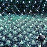 Hezbjiti 200 LEDs Guirnaldas Neta Luces Solar, 3m X 2m 8 Modos Luz de Red con Energía Solar, Impermeable Malla Neta Cortina Luce de Hada para Jardin Casa Fiesta Boda Patio Balcón Exterior Decoración