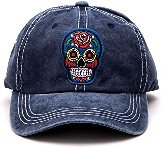 Crazy4Bling Dark Blue Washed Denim Baseball Cap Hat with Day of The Dead Embroidered Mask Thick Blue Stitching