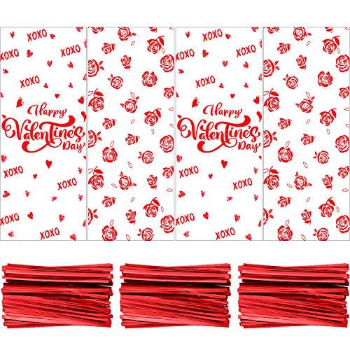 120 Piezas Bolsa de Celofán Transparente con Patrones de Corazón Bolsa de Dulces de San Valentín con 150 Precintos Rojos para Decoración de Fiesta
