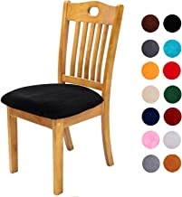 Comqualife Soft Velvet Dining Chair Seat Covers, Stretchable Dining Room Upholstered Chair Seat Cushion Cover, Removable Washable Anti-Dust Kitchen Chair Protector Slipcovers - Set of 6, Black