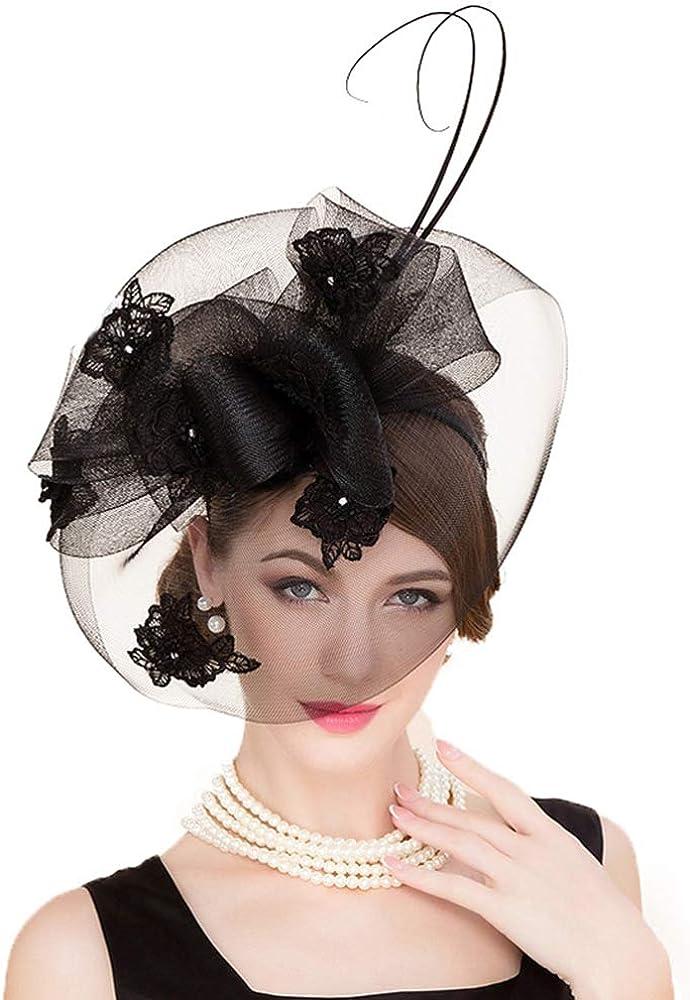FADVES British Style Sinamay Wedding Hat Vintage Fascinators Pillbox Hats Veil