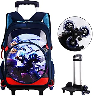 2PCS Rolling Backpack Game Anime Boy School Backpack School Travel with Small Shoulder Bag 6-