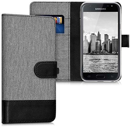kwmobile Wallet Hülle kompatibel mit Samsung Galaxy J3 (2017) DUOS - Hülle mit Ständer - Handyhülle Kartenfächer Grau Schwarz