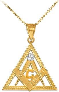 14k Gold Triangle Freemason Diamond Masonic Pendant Necklace