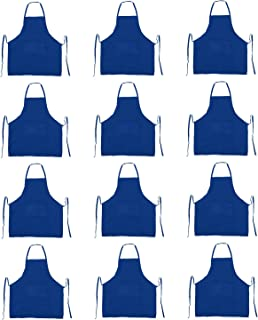 Trendbox Total 12 PCS Dark Blue Color (Medium Size) Bib Apron Adult Women Unisex Waist Size 30
