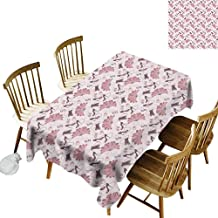 kangkaishi Vintage Oil-Resistant and Durable Long Tablecloth Kitchen Available Women Fashion Theme Old Fashioned Accessories Gloves Shoes Peacock Feather Earrings W14 x L72 Inch Pale Pink