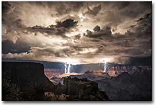 Wall Art Painting Lightning Strikes in The Grand Canyon Dark Cloud Pictures Prints On Canvas Landscape The Picture Decor Oil for Home Modern Decoration Print for Kids Room