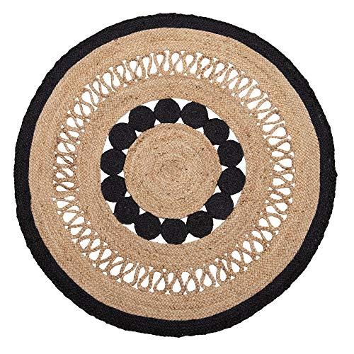 Alfombra exótica Trenzada Calada Negra de Yute Natural de 120x120 cm - LOLAhome