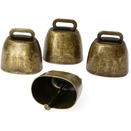 Metal Cow Bells for Dogs 5 Pack Grazing Copper Bells for Cow Horse Sheep Cats Small Pets Anti-Theft Accessories Bronze Small Brass Bell Animal Copper Loud Bronze Bell