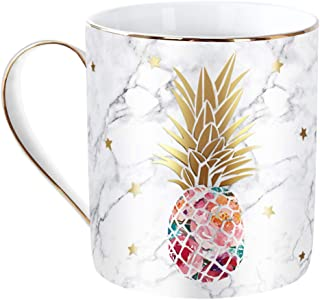 WAVEYU Water Mug, Decorative Water Cup with Golden Handle for Chritmas, 13 OZ Pineapple