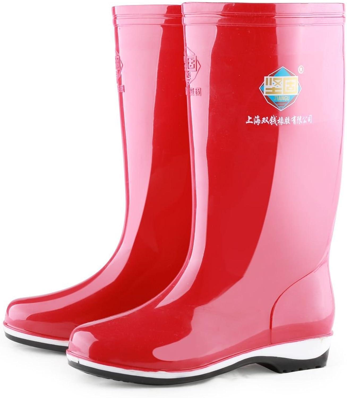 WANGZHI PVC Rain shoes Women's Rain Boot, Size9, Red (36, red)