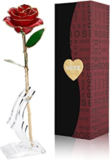 Cozime Rose Plaqué Or 24K, Rose Eternelle Romantique, Rose Dorée Rouge, Fleur Eternelle avec Support, Le Meilleur Cadeau p...