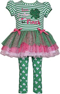 Girl's St Patrick's Day Shamrock Tutu Top and Leggings Set for Baby Toddler and Little Girls - Too Cute to Pinch