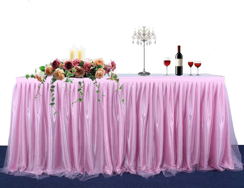 JK Home Table Skirt Tutu Tulle Tables Skirts for Birthday Party Wedding Home Decoration Blue-6Ft
