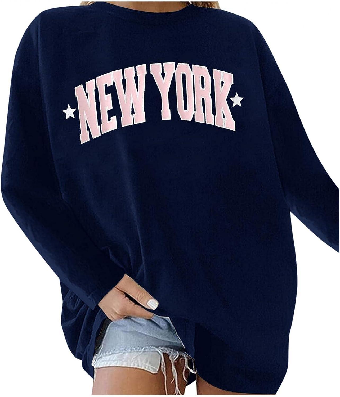 FABIURT Sweatshirt for Women,Pullover Tees for Women Casual Loose Long Sleeve Tops Sweaters Cute Graphic Sweatshirts