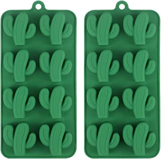 Cactus Ice Cube Tray, Cacti Silicone Mold for Chocolate, Candy, Cookie, Fondant, Gummy, Jello, Baking, Candle, Cupcake Topper Decoration - Set of 2