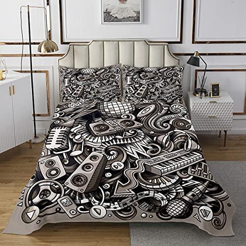 Loussiesd Conjunto de ropa de cama con diseño moderno y divertido, para niños y adultos, para decoración de habitación ultra suave, color gris