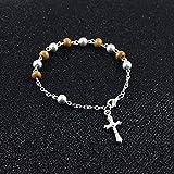 L-YINGZON Collares Rosario de Madera Cruz Colgante Collar Pulsera Set para Mujeres Hombres Católico Cristo Religioso Jesús Joyas Regalo R-235 Joyas (Metal Color : R 236)