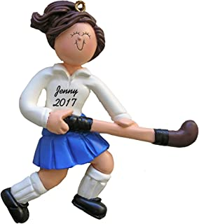 Calliope Designs Field Hockey Player Personalized Christmas Ornament - Female - Brown Hair - Handpainted Resin - 4.5