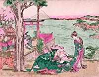 ArtVerse HOK082A1418A Japanese Courtesan Wood Block Print In Pink and Green Removable Art Decal 14 x 18 [並行輸入品]