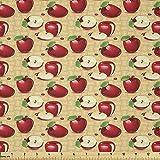Lunarable Stoff mit Früchten, rote Äpfel auf Weide,