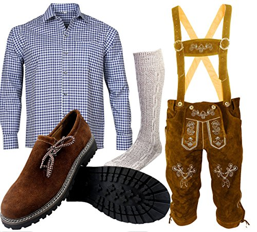 ALL THE GOOD B 2 Trachtenset (Hose +Hemd +Schuhe +Socken) Bayerische Lederhose Trachtenhose Oktoberfest Leder Hose Trachten (Hose 60 Hemd 3XL Schuhgröße per Mail)