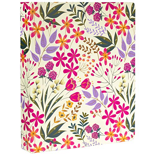 Cute Decorative Hardcover 3 Ring Binder for Letter Size Paper, 1 Inch Round Rings, Women's Floral Binder Organizer for School/Office, Wildflowers