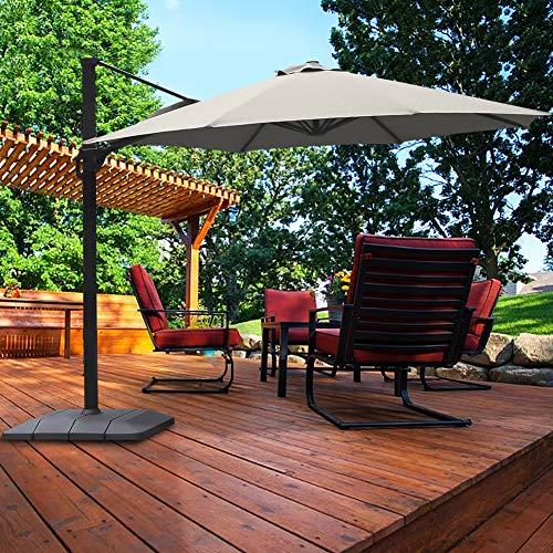 Frivity Patio Umbrella, 11FT Outdoor Patio Umbrella with Heavy Duty Base, Large Cantilever Umbrella Windproof Offset Umbrella Sun Umbrella for Garden Deck Pool Patio, Gray