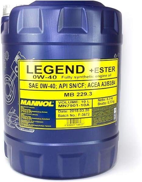 Mannol Legend Ester 0w 40 Api Sn Cf Motorenöl 10 Liter Auto