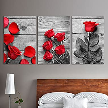 wall26 3 Panel Canvas Wall Art - Black and White Roses with Touch of Red Color - Giclee Print Gallery Wrap Modern Home Decor Ready to Hang - 24 x36  x 3 Panels