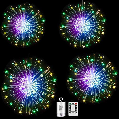 Digcreat Firework Lights Wire Lights,120 LED DIY 8 Modes Dimmable String Fairy Lights with Remote Control,Waterproof Decorative Hanging Starburst Lights for Christmas Home Patio, Multicolor(4 Pack)