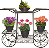 Sorbus Garden Cart Stand & Flower Pot Plant Holder Display Rack, 6 Tiers, Parisian Style - Perfect for Home, Garden, Patio