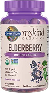 Garden of Life mykind Organics Elderberry Plant Based Immune Gummy - 120 Real Fruit Gummies for Kids & Adults - Echinacea,...