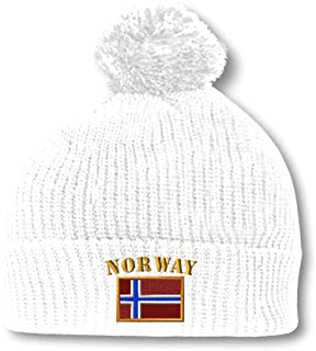 0d6a523232a64 Speedy Pros Norway Flag Embroidery Embroidered Pom Pom Beanie Skully Hat Cap