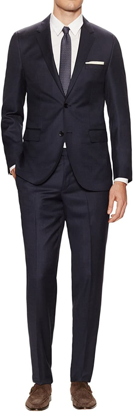 DTI GV Executive Men's Modern Fit Two Button 2 Piece Suit Jacket Flat Front Pant