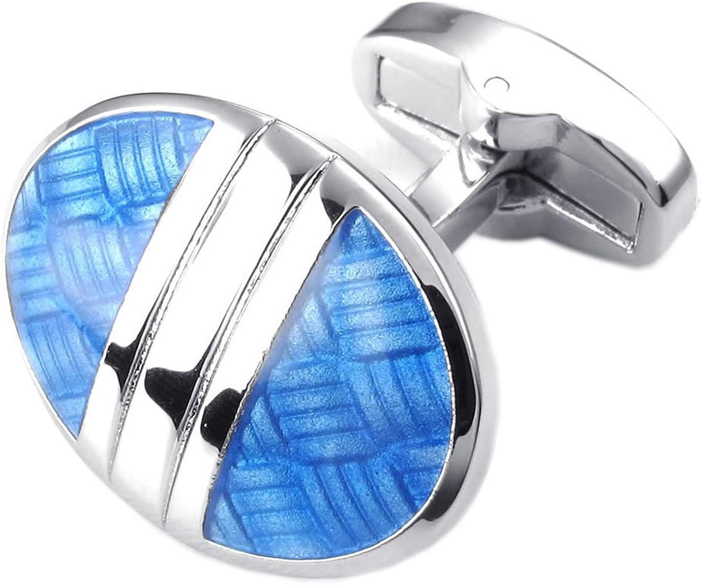 KONOV 2pcs Rhodium Plated Mens Womens Classic Oval Shirts Cufflinks, Wedding, bluee Silver, 1 Pair