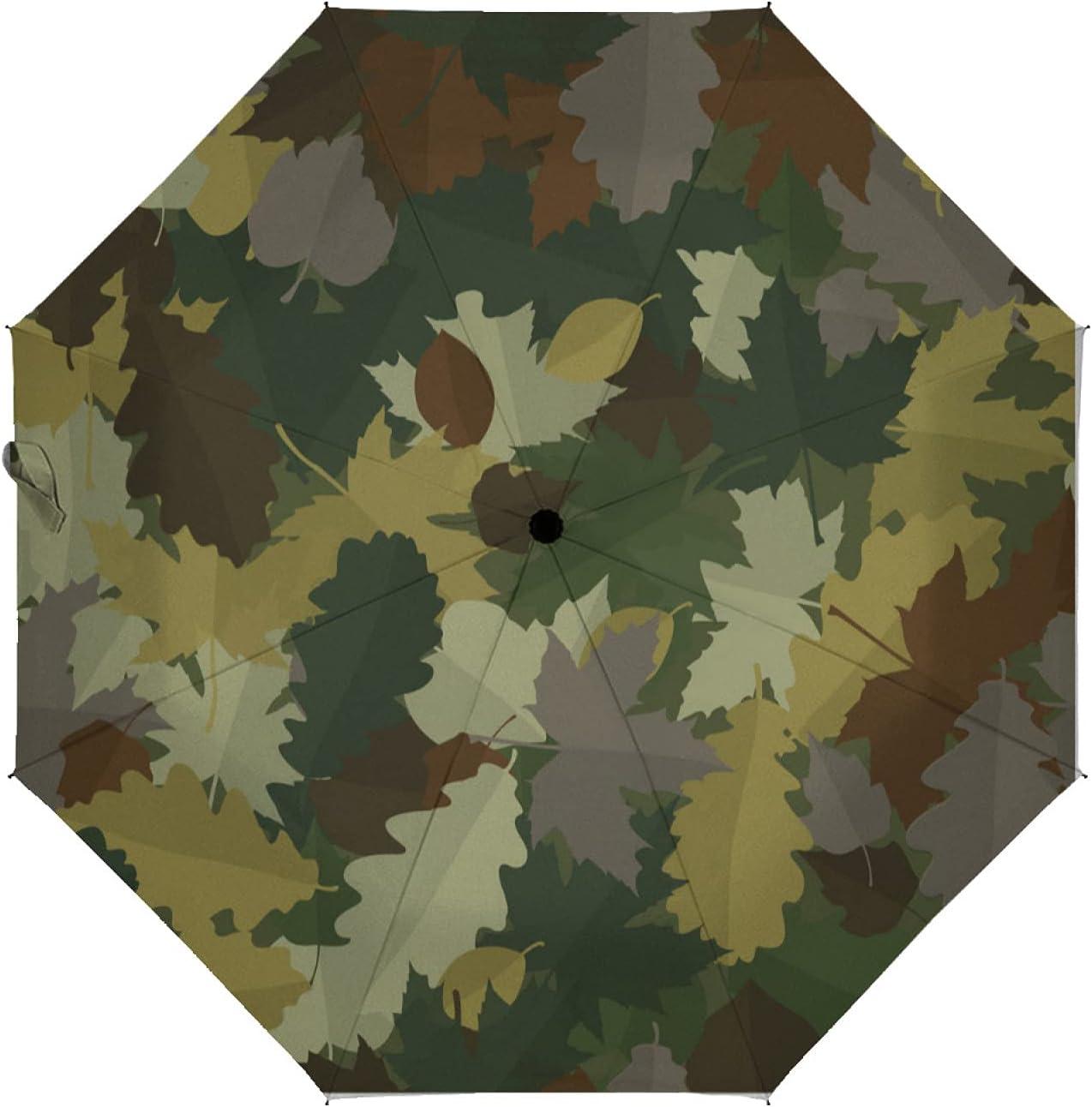 ZXZNC Compact Umbrella Woodland List price Camouflage With Autumn Le Fallen Cheap bargain