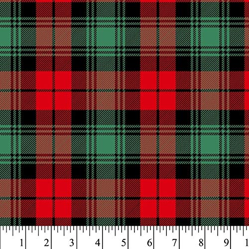 Christmas Plaid Flannel Fabric by The Yard